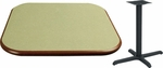 30'' Square Laminate Table Top with Bullnose Vinyl Edge and Base - Bar Height [ATB3030-T2222-BAR-3M-SAT]