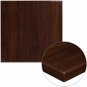 30'' Square High-Gloss Walnut Resin Table Top with 2'' Thick Edge