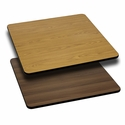30'' Square Table Top with Reversible Natural or Walnut Laminate Top