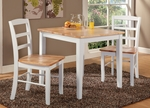 Shaker Style Solid Wood 3 Piece Dining Table with 2 Ladder Back Dining Chairs - White and Natural [K02-3030-C2P-2-FS-WHT]