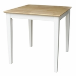Butcher Block Top Solid Wood 30''W X 30''H Table With Shaker Legs - White And Natural Top [T02-3030-FS-WHT]