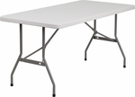30''W x 60''L Granite White Plastic Folding Table [RB-3060-GG]
