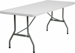 30''W x 72''L Granite White Plastic Folding Table [RB-3072-GG]