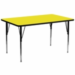 30''W x 72''L Rectangular Activity Table with 1.25'' Thick High Pressure Yellow Laminate Top and Standard Height Adjustable Legs [XU-A3072-REC-YEL-H-A-GG]