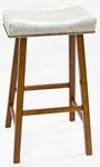 Valencia Wood 30''H Backless Stool with Chamois Upholstered Seat - Walnut [683-43-CH-FS-CCTCO]