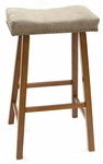 Valencia Wood 30''H Backless Stool with Mocha Upholstered Seat - Walnut [683-43-MA-FS-CCTCO]