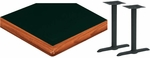 30'' x 48'' Laminate Table Top with Bullnose Wood Edge and 2 Bases - Standard Height [ATWB3048-T0522M-SAT]