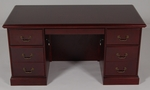 30 x 60 Wood Veneer Double Ped Desk in Mahogany Finish [934MH-FS-FDG]