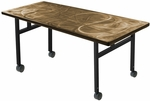 Rectangular Alulite Training Table with Swirl Top and Black H-Legs with Locking Casters [SA3060PDH-SAL]