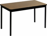 High Pressure Laminate Rectangular Lab Table with Black Base and T-Mold - Medium Oak Top - 30''D x 72''W [LT3072-06-CRL]