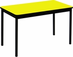 High Pressure Laminate Rectangular Lab Table with Black Base and T-Mold - Yellow Top - 30''D x 72''W [LT3072-38-CRL]