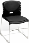 300 lb. Capacity Stack Chair with Anti-Microbial and Anti-Bacterial Vinyl Seat and Back - Black [320-VAM-606-MFO]