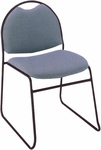 300 Series Stacking Steel Frame Rounded Back Armless Guest Chair with Sled Base and 1.5'' Upholstered Seat [RB310-IFK]