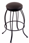 Georgian 25'' Black Wrinkle Finish Swivel Counter Height Stool with Gr 1 Allante Espresso Vinyl Seat [300025BWALESPR-FS-HOB]