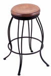 Georgian 25'' Black Wrinkle Finish Swivel Counter Height Stool with Medium Maple Wood Seat [300025BWMEDMPL-FS-HOB]