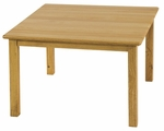 30''D x 30''W Square Hardwood Table with .75''H Bull-Nose Edge and 22''H Legs - Natural Finish [ELR-072-ECR]