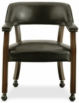 Banker's Vinyl Upholstered 33''H Office Chair With Arms And Casters - Dark Brown [D351-603C-FS-WHT]