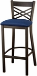 3300 Series Square Steel Frame Armless Cafe Barstool with X-Shaped Back and Upholstered Seat [BR3310-IFK]