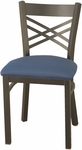 3300 Series Square Steel Frame Armless Cafe Chair with Contoured X-Shaped Back and Upholstered Seat [3310-IFK]