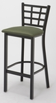 3300 Series Square Steel Frame Armless Cafe Barstool with Grid Shaped Back and Upholstered Seat [BR3312-IFK]