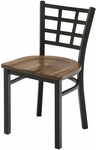 3300 Series Square Steel Frame Armless Cafe Chair with Contoured Grid Shaped Back and Wood Seat [3312-WOOD-IFK]