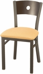 3300 Series Square Steel Frame Armless Cafe Chair with Contoured Wood Back and Upholstered Seat [3315A-IFK]