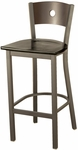3315A Series Square Steel Frame Armless Cafe Barstool with Contoured Wood Back and Wood Seat [BR3315A-WOOD-IFK]
