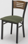 3300 Series Square Steel Frame Armless Cafe Chair with Contoured Wood Design Back and Upholstered Seat [3315B-IFK]