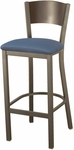 3315C Series Square Steel Frame Armless Cafe Barstool with Contoured Solid Wood Back and Upholstered Seat [BR3315C-IFK]