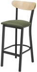 3319K Series Square Steel Frame Armless Cafe Barstool with Curved High Wood Back and Upholstered Seat [BR3319K-IFK]