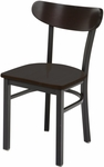 3300 Series Square Steel Frame Armless Cafe Chair with High Curved Wood Back and Wood Seat [3319K-WOOD-IFK]