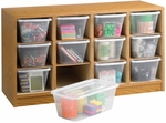 34'' W x 13'' D x 19'' H Supplies Organizer with Twelve Plastic Bins - Medium Oak [9452MO-FS-SAF]