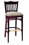 3471 Bar Stool w/ Upholstered Seat and Brass Trim on Foot Rest - Grade 2 [3471-GRADE2-ACF]