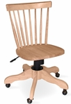 Copenhagen Solid Parawood Spindle Back 35''H Rolling Chair - Unfinished [KCB-1-TOP-285-FS-WHT]