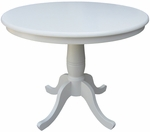Butcher Block Top Solid Wood 36'' Diameter Pedestal Dining Table - Linen White [K31-36RT-FS-WHT]