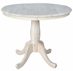 Butcher Block Top Solid Wood 36'' Diameter Pedestal Dining Table - Unfinished [K-36RT-FS-WHT]