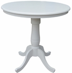 Solid Wood 2 In 1 Convertible 36'' Diameter Pedestal Dining Table - Linen White [K31-36RT-6B-FS-WHT]