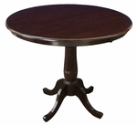 Solid Wood 2 In 1 Convertible 36'' Diameter Pedestal Dining Table - Rich Mocha [K15-36RT-6B-FS-WHT]