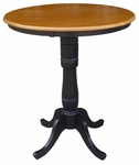Solid Wood 3 In 1 Convertible 36'' Diameter Pedestal Dining Table - Black and Cherry [K57-36RT-6B-2-FS-WHT]