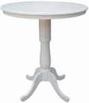 Solid Wood 3 In 1 Convertible 36'' Diameter Pedestal Dining Table - Linen White [K31-36RT-6B-2-FS-WHT]