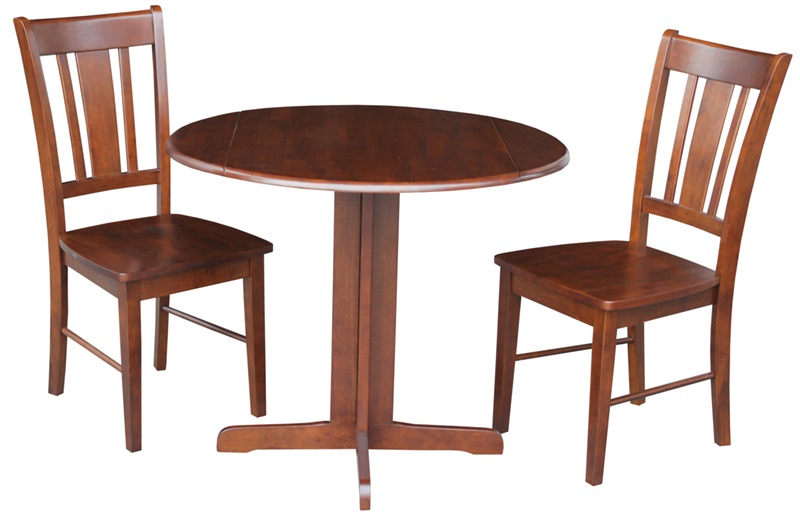 Solid Wood 3 Piece 36 Diameter Round Dual Drop Leaf  : 36 dual drop leaf table with 2 san remo chairs espresso k581 36rp c 10p fs wht 4 from www.bizchair.com size 800 x 521 jpeg 82kB