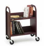 Single Sided Duro Book Truck with Slanted Shelves - 26''W x 14''D x 32''H [R227-BRET]