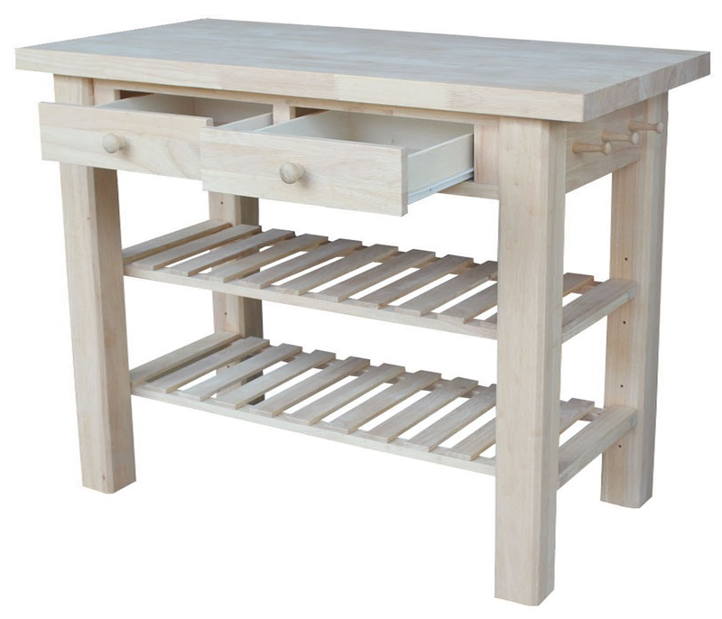 Unfinished Kitchen Island: Butcher Block Top Solid Parawood 48''W X 36''H Kitchen