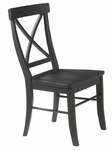 Solid Wood Tilted Armless X-Back 36''H Dining Chair - Set Of 2 - Black [C46-613P-FS-WHT]