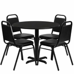 36'' Round Black Laminate Table Set with Black Trapezoidal Back Banquet Chairs,Seats 4 [REST-001-BK-BK-FS-TDR]