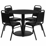 36'' Round Black Laminate Table Set with Black Trapezoidal Back Banquet Chairs, Seats 4 [REST-011-BK-BK-FS-TDR]