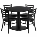36'' Round Black Laminate Table Set with Ladder Back Metal Chair and Black Vinyl Seat, Seats 4 [REST-018-BK-BK-FS-TDR]