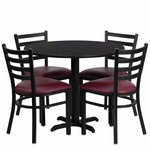 36'' Round Black Laminate Table Set with Ladder Back Metal Chair and Burgundy Vinyl Seat,Seats 4 [REST-002-BG-BK-FS-TDR]