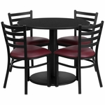 36'' Round Black Laminate Table Set with Ladder Back Metal Chair and Burgundy Vinyl Seat, Seats 4 [REST-012-BG-BK-FS-TDR]