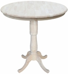 Solid Wood 36'' Diameter Round Extension Bar Height Table With 12'' Leaf - Unfinished [K-36RXT-6B-2-FS-WHT]